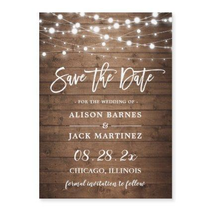 Rustic Twinkle Lights Wedding Save the Date Magnet