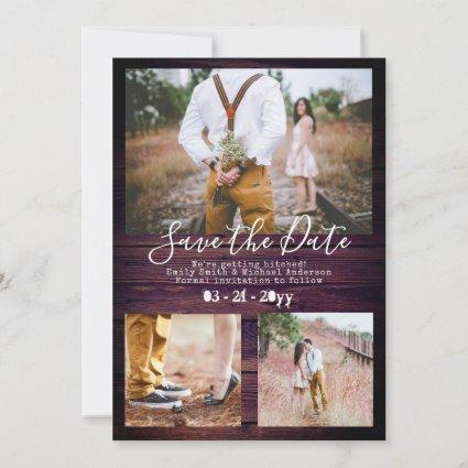 Rustic Typewriter Font Save The Date ADD PHOTOS