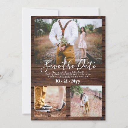Rustic Typewriter Font Save The Date PHOTO Collage