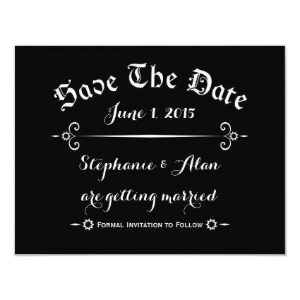 Rustic Typography Black Save The Date Card