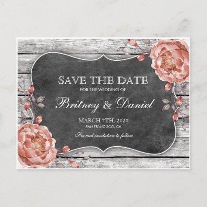 Rustic Vintage Barn Wood Chalkboard Save The Date Announcement