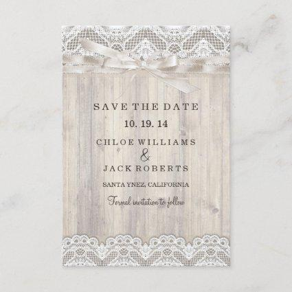 Rustic Vintage Lace & Wood Wedding Save The Date
