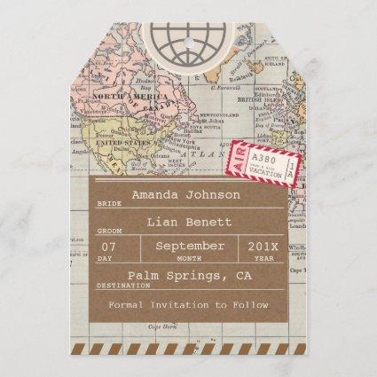 Rustic, Vintage Travel Map Save the Date Card