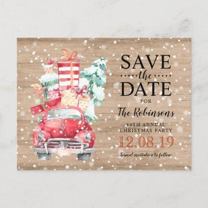 Rustic Vintage Truck Christmas Save the Date Announcements Cards
