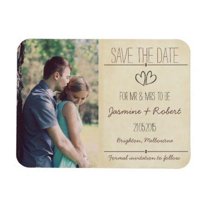 Rustic Vintage Wedding Save The Date Magnet