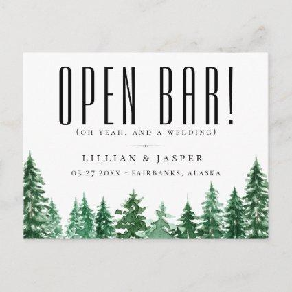 Rustic Watercolor Forest Open Bar Save the Date Announcement