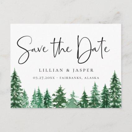 Rustic Watercolor Forest Save the Date Announcement