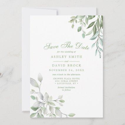 Rustic Watercolor Greenery Floral Save The Date