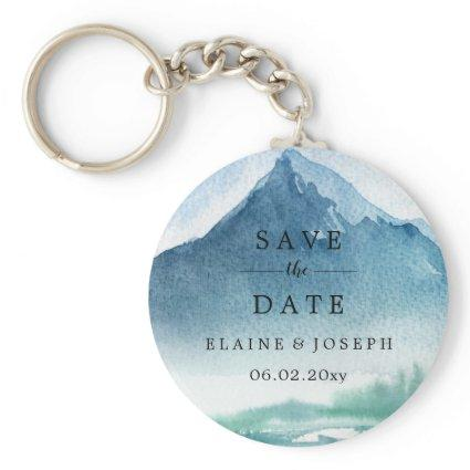 Rustic Watercolor Mountains Lake Save The Date Keychain
