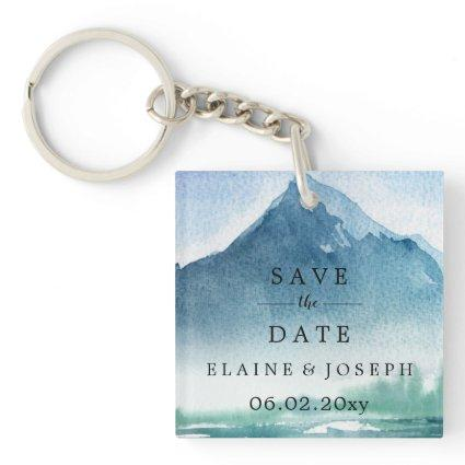 Rustic Watercolor Mountains Save The Date Photo Keychain