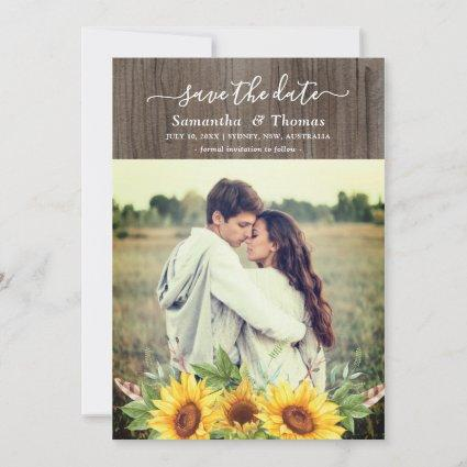 Rustic Watercolor Sunflowers Wedding Save the Date