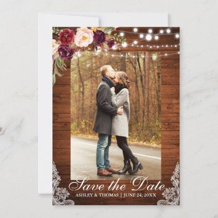 Rustic Wedding Burgundy Floral Lace Save the Date