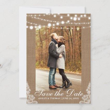 Rustic Wedding Burlap Lace Lights Save the Date