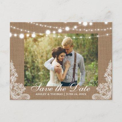 Rustic Wedding Burlap Lights Lace Save the Date Announcement