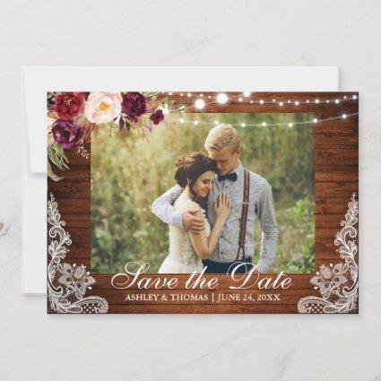 Rustic Wedding Lace Burgundy Floral Save the Date