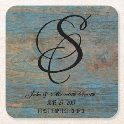 Rustic Wedding Monogram Worn Paint Look Coasters
