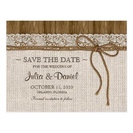 Rustic Wedding  With Burlap And Lace Cards