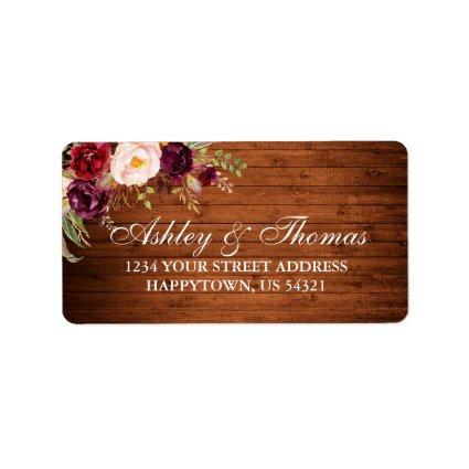 Rustic Wedding Wood Burgundy Floral Address Label