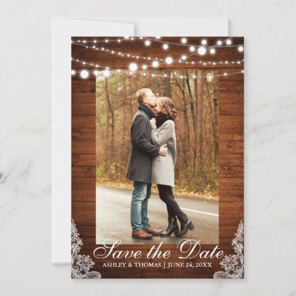 Rustic Wedding Wood Lace Lights Save the Date