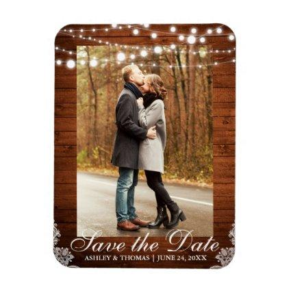 Rustic Wedding Wood Lace Lights Save the Date Magnet