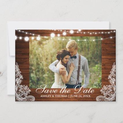 Rustic Wedding Wood Lights Lace Save the Date