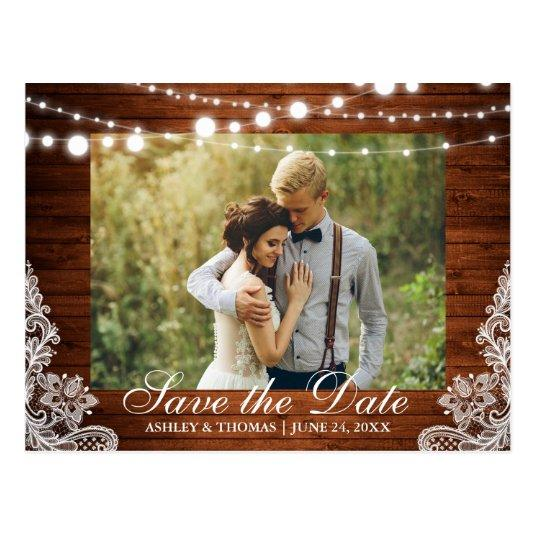 Rustic Wedding Wood Lights Lace Save the Date Cards