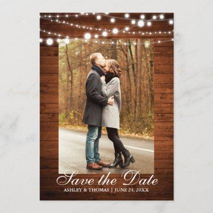 Rustic Wedding Wood Lights Save the Date