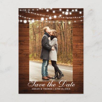 Rustic Wedding Wood Lights Save the Date Announcement
