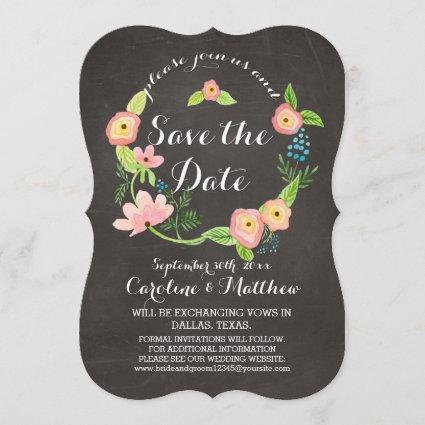 Rustic Whimsical Granny Chic Hipster Chalkboard Save The Date