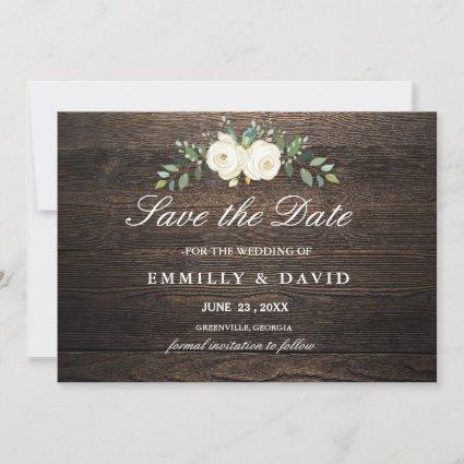 Rustic White Flowers & Wood Wedding Save The Date