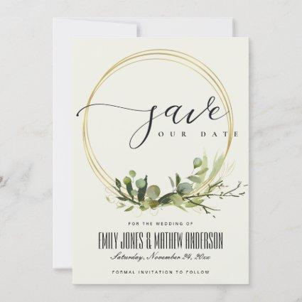 RUSTIC WHITE LEAFY GREEN GOLD FOLIAGE WATERCOLOR SAVE THE DATE