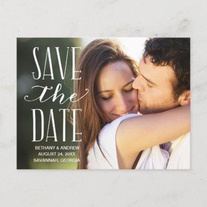 Rustic White Lettering Overlay Save the Date Announcement