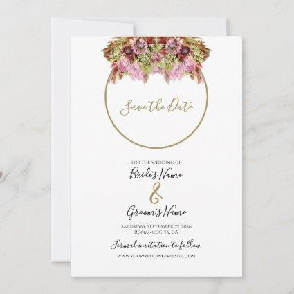 Rustic Wild Flower Bouquet Wedding Save The Date