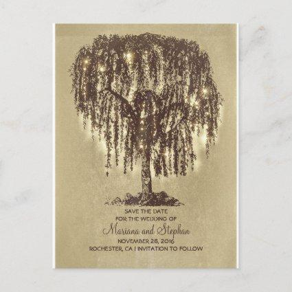 rustic willow tree & string lights save the date announcement