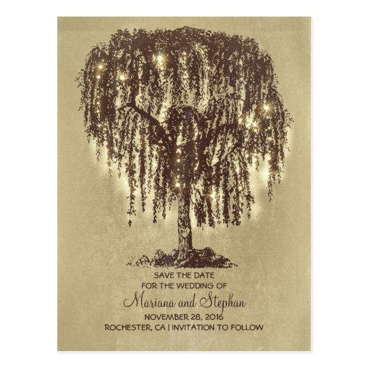 String Lights Rustic Tree : rustic willow tree & string lights Save the Date Cards