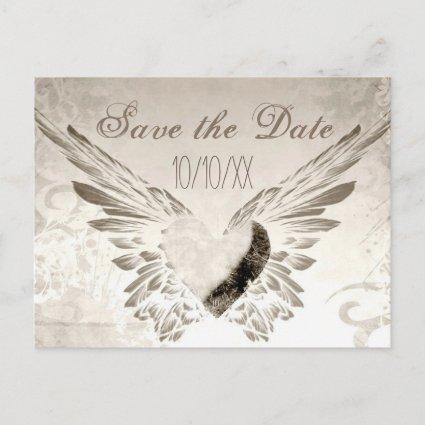 Rustic Wings Angel Heart Vintage Save the Date Announcements Cards