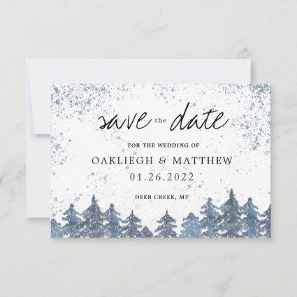 Rustic Winter Pale Blue Forest Save the Date