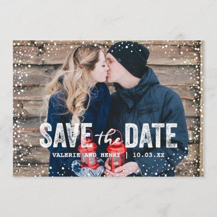 Rustic Winter Save The Date Full Bleed Photo