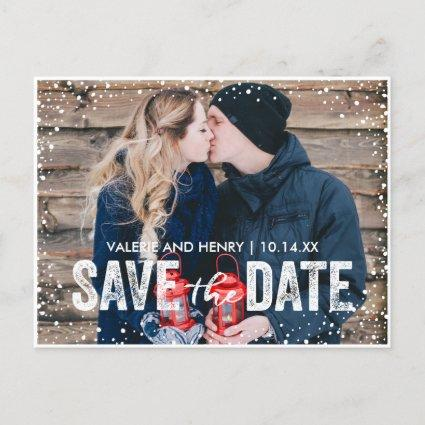 Rustic Winter Snowfall Save The Date Photo Announcement