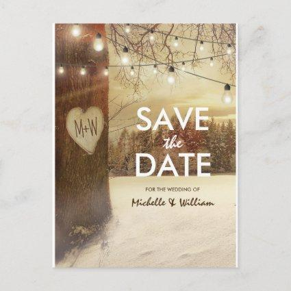Rustic Winter Tree Twinkle Lights Save the Date Announcement