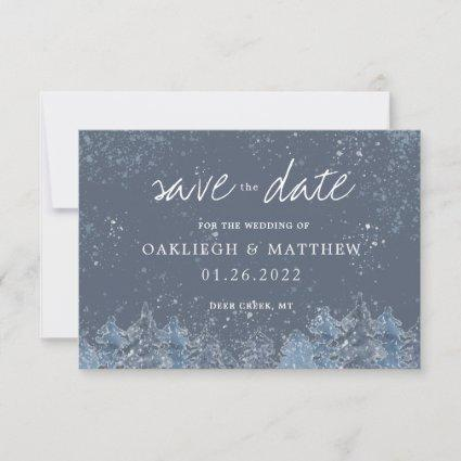 Rustic Winter Watercolor Forest Save the Date