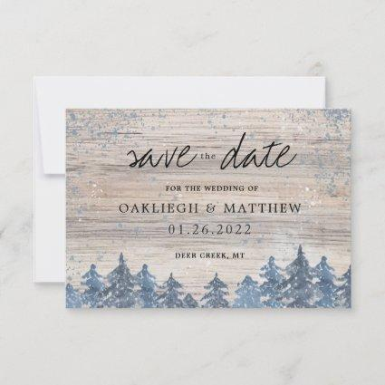 Rustic Winter Wood Watercolor Forest Save the Date