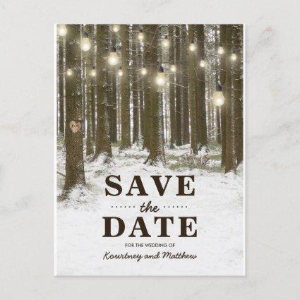 Rustic Winter Woodland Tree Save the Date Announcements
