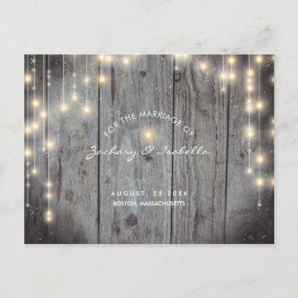 Rustic with Lights Save the Date Announcement