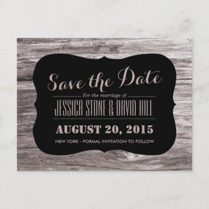 Rustic Wood Background Save the Date Announcement