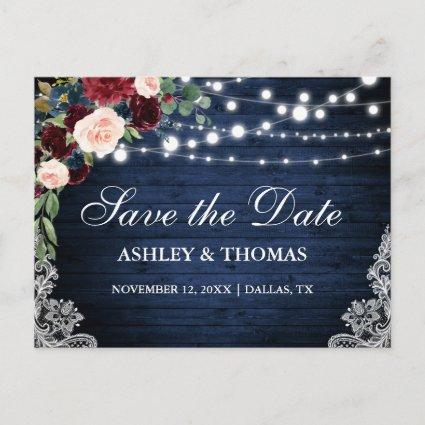 Rustic Wood Blue Burgundy Floral Save the Date Announcement