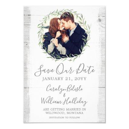 Rustic Wood & Botanical Leaf Wreath Save The Date Invitation