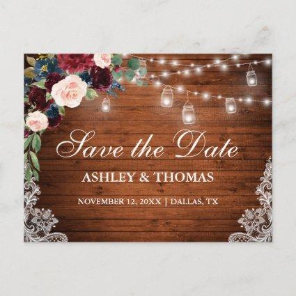 Rustic Wood Burgundy Blue Floral Save The Date Announcement