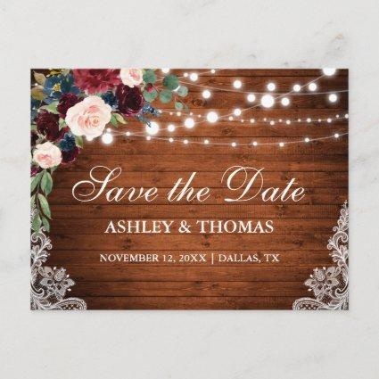 Rustic Wood Burgundy Blue Floral Save the Date Announcements Cards
