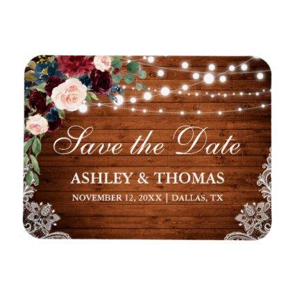 Rustic Wood Burgundy Blue Floral Save the Date Magnet